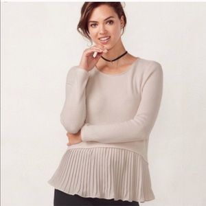 LC Lauren Conrad Soft Fuzzy Pleated Sweater